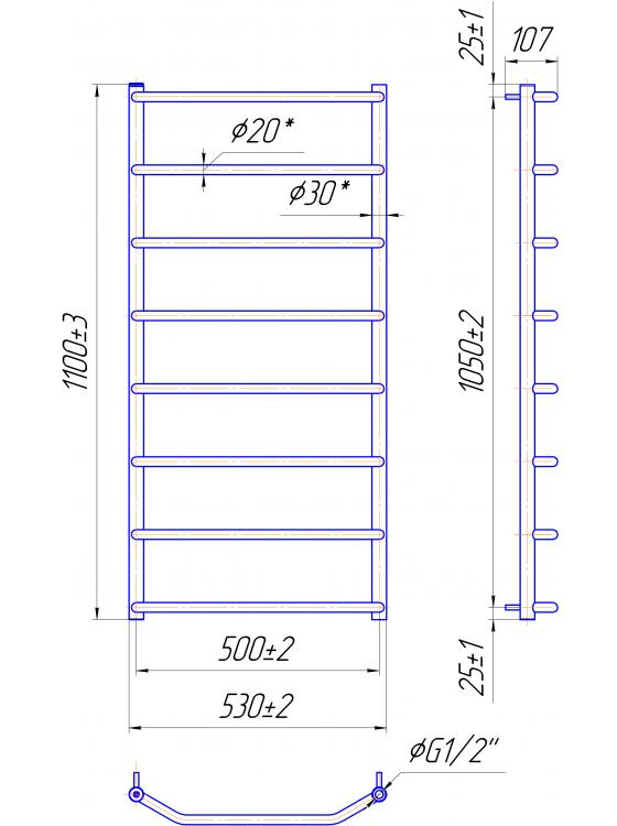 Трапеция HP 1100x530/500